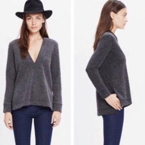 Madewell V Neck Plunge Pullover Charcoal Gray   S
